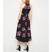 Mela Black Floral Butterfly Dip Hem Dress New Look