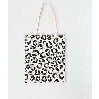 Black Leopard Print Canvas Bag New Look