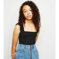 Girls Black Frill Strap Square Neck Cami New Look