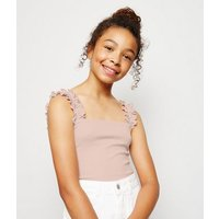 Girls Pale Pink Frill Strap Square Neck Cami New Look