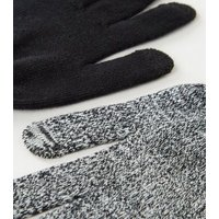2 Pack Black Marl Touch Screen Gloves New Look