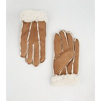 Tan Suedette Faux Shearling Gloves New Look