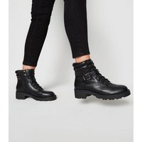 Black Leather-Look Lace Up Hiker Boots New Look