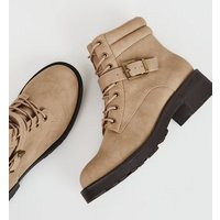 Light Brown Leather-Look Lace Up Hiker Boots New Look