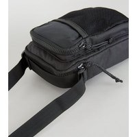 Black Mesh Front Camera Bag New Look