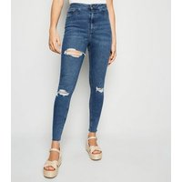 Tall Blue Ripped Super Skinny Hallie Jeans New Look