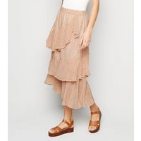 Tokyo Doll Off White Floral Frill Tier Midi Skirt New Look