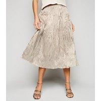 Tokyo Doll Stone Crushed Satin Midi Skirt New Look