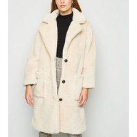 Blue Vanilla Cream Longline Teddy Coat New Look