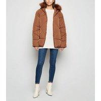 Blue Vanilla Tan Faux Fur Hooded Puffer Jacket New Look