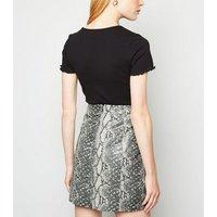 Light Grey Faux Snake Mini Skirt New Look