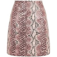 Pink Faux Snake Mini Skirt New Look