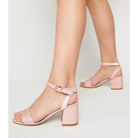 Girls Rose Gold Glitter Block Heel Sandals New Look