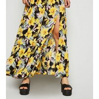 Black Floral Tropical Maxi Beach Dress New Look