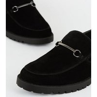 Black Suedette Bar Front Loafers New Look