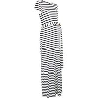 Maternity White Stripe Belted Maxi Dress New Look