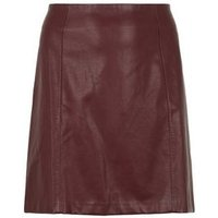 Curves Burgundy Leather-Look Mini Skirt New Look