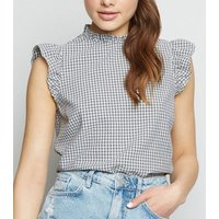 Black Gingham High Neck Frill Blouse New Look