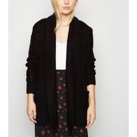 Petite Black Cable Knit Cardigan New Look