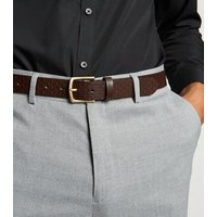 Brown Leather Brick Embossed Belt New Look