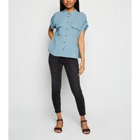 Petite Blue Pocket Front Utility Shirt New Look