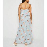 Petite Blue Floral Spot Lace Up Maxi Dress New Look