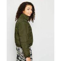 Girls Green Reversible Puffer Jacket New Look
