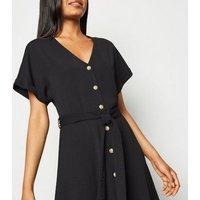 Petite Black Button Up Midi Dress New Look