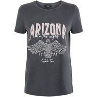 Petite Dark Grey Acid Wash Arizona Slogan T-Shirt New Look