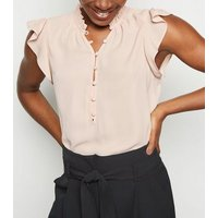 Tall Pale Pink Button Front Frill Blouse New Look