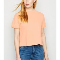 Bright Orange Boxy Crop T-Shirt New Look