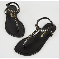 Wide Fit Black Studded Scallop Strap Sandals New Look
