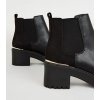 Black Leather-Look Chunky Chelsea Boots New Look Vegan