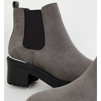 Grey Suedette Chunky Chelsea Boots New Look Vegan