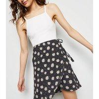 Black Daisy Print Wrap Mini Skirt New Look