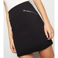 Black Slim Stretch Zip Mini Skirt New Look
