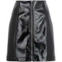 Black Vinyl Ring Zip Mini Skirt New Look