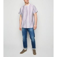 Lilac Vertical Stripe Short Sleeve T-Shirt New Look