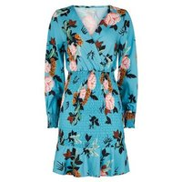 Urban Bliss Blue Floral Shirred Mini Dress New Look