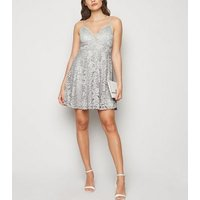 Grey Lace Bustier Skater Dress New Look