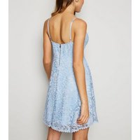 Pale Blue Lace Bustier Skater Dress New Look