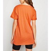Bright Orange Living My Best Life Slogan T-Shirt New Look
