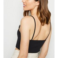 Black Ribbed Lace Trim Bralette New Look