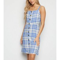 Tall Blue Check Button Front Dress New Look