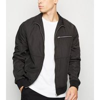 Black Funnel Neck Zip Front Bomber Jacket New Look