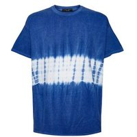 Blue Tie Dye Colour Block T-Shirt New Look