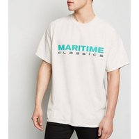 Stone Maritime Slogan Oversized T-Shirt New Look
