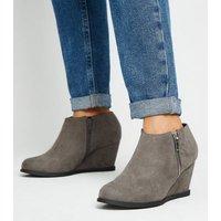 Girls Grey Suedette Wedge Shoe Boots New Look Vegan