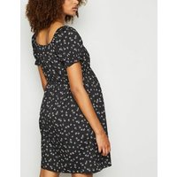 Maternity Black Ditsy Floral Square Neck Dress New Look