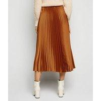 Rust Pleated Satin Midi Skirt New Look